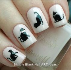 Cute black cat nail art stickers features 44 stickers including cats, paws and hearts with beautiful silver details Cat Nail Art, Rose Nail Art, Cat Nails, Cat Nail Designs, Black Nail Designs, Nail Swag, Black Nail Art, Black Nails, Maroon Nails