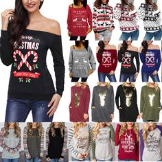 Simayixx Sweatshirts for Women Merry Christmas Xmas Graphic Print Sweater O-Neck Oversized Sweatshirt Pullover