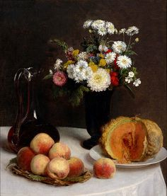 Henri Fantin-Latour 'Still Life with a Carafe, Flowers and Fruit' 1865 by Plum leaves, via Flickr