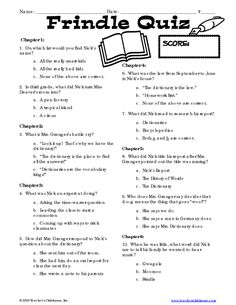 Page 1 - Frindle Quiz                                                                                                                                                                                 More