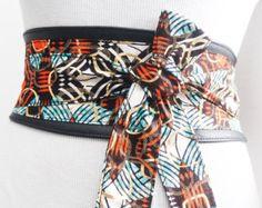 Cire noire impression or Obi ceinture de cuir | Ankara cire Print| Belt| de cravate en cuir Corset Belt| Ceinture unique | Plus les ceintures de taille