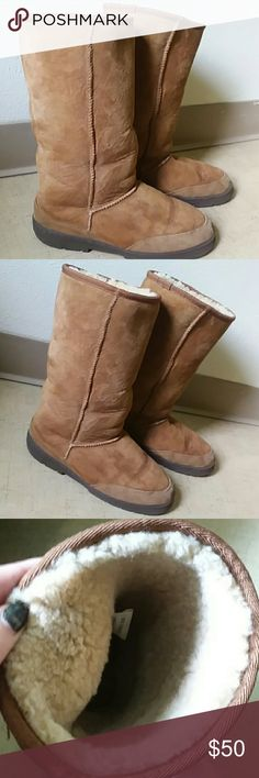 Sheep skin boots 7W Super soft outer and fluffy, comfy inner. In excellent condition. Very little wear. Made out of 100% Sheepskin upper and instock. Womens Size 7 Wide Shoes