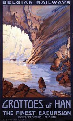 Vintage travel Belgium - Julien Lacaze Grottes de Han Belgique