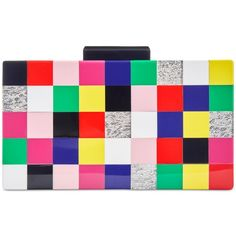 Inc International Concepts Tile Box Clutch, ($80) ❤ liked on Polyvore featuring bags, handbags, clutches, multi, colorful handbags, multi color handbag, multi color purse, colorful clutches and inc international concepts