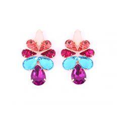 Brincos com banho ouro e pedrarias rosa, azul e roxa  comprimento 5 cm  largura 3 cm  peso 3g cada ..