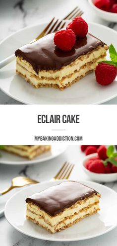 Eclair Cake is one of the easiest no-bake desserts of all-time. Graham crackers layered with a vanilla filling and chocolate frosting is reminiscent of an eclair without any of the effort.