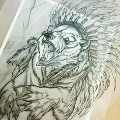 Sharp-nailed bear in indian leader feathered hat tattoo design ...