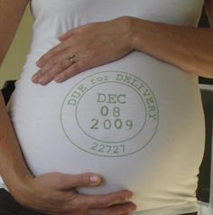 Baby #2 and I will be getting one of these as a keep sake.  Would be neat to take each monthly photo in this. Due Date maternity shirts