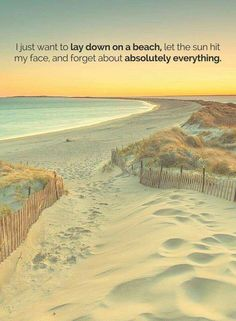 I just want to lay down on a beach, let the sun hit my face and forget about absolutely everything.