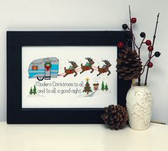 Retro Christmas Camper Cross Stitch Pattern Instant Download by tinymodernist on Etsy https://www.etsy.com/listing/205984838/retro-christmas-camper-cross-stitch
