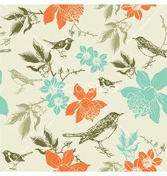 Vintage birds pattern vector 937523 - by zolssa on VectorStock®