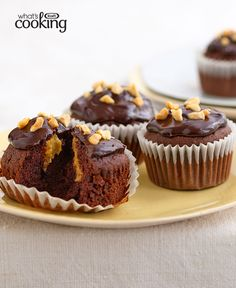 Chocolate-Peanut Butter Cupcakes #recipe