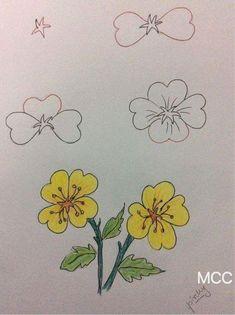 cute drawings of love Art Drawings For Kids, Drawing For Kids, Easy Drawings, Drawing Lessons, Drawing Techniques, Art Lessons, Pencil Art, Pencil Drawings, Flower Drawing Tutorials