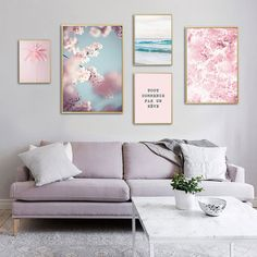 Pink Ocean Cherry Flower Wall Art Poster Nordic Canvas Print Modern Home Decor Canvas Poster, Poster Wall, Canvas Wall Art, Diy Canvas, Wall Collage, Living Room Paint, Living Room Decor, Dining Room, Scandinavian Poster
