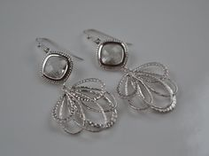 Crystal Chandalier Earrings-Matte Silver Framed by GlamNecessities