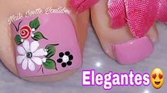 Toe Nail Flower Designs, Pedicure Designs, Nail Art Designs, Pretty Toe Nails, Pretty Toes, Minimalist Nails, Toe Nail Art, Flower Nails, Color Rosa