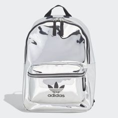 adidas A mirror metallic build transforms this piece from a simple backpack to a full fashion accessory. An outer zip pocket and inner slip-in pocket keep small essentials organized. Mochila Adidas, Cute Mini Backpacks, Stylish Backpacks, Silver Backpacks, Mini Mochila, Adidas Bags, Girls Bags, Backpack Purse, Cute Bags