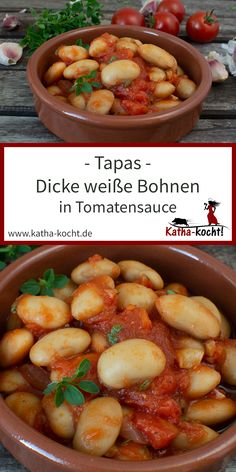 Tapas - Broad beans in tomato sauce - Katha cooks! - If you are looking for a recipe for vegetarian tapas, these thick white beans in tomato sauce are t - Tapas Recipes, Raw Food Recipes, Healthy Dinner Recipes, Gourmet Recipes, Vegetarian Tapas, Vegetarian Recipes, Plat Vegan, Avocado Dessert, Sauce Tomate