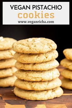 These easy vegan pistachio cookies are made with almond flour and spiced with cardamom and saffron, then topped with slivered almonds! A simple yet special cookie recipe ideal for cookie swaps and the holidays. Vegan Gluten Free Desserts, Raw Desserts, Vegan Dessert Recipes, Vegan Sweets, Vegan Snacks, Healthy Desserts, Cookie Recipes, Veggie Recipes, Vegan Food
