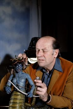 Harryhausen working on Medusa.....always wanted to be her for Halloween