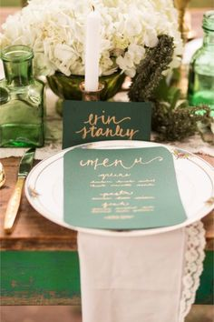 Organic emerald wedding inspiration shoot with vintage touches and details from Anita Shay Photography. The Menu, Best Wedding Colors, Wedding Themes, Wedding Ideas, Diy Wedding, Wedding Stuff, Wedding Dresses, Dream Wedding, Emerald Green Weddings