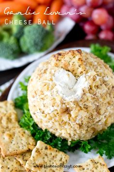 Garlic Lover's Cheese Ball >> by Tastes of Lizzy T's. This is my kind of super bowl appetizer recipe. Garlic, cheese, easy to make, and topped served with crackers. A make ahead cheese dip that everyone will love. Great party food!