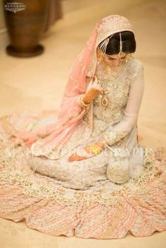 A wedding dress or wedding outfit is the attire worn by a life partner in the midst of a wedding capacity. Shade, style and stately imperativeness of the outfit can depend on upon the religion and so. Pakistani Couture, Pakistani Bridal Wear, Indian Couture, Party Mode, Senior Girl Poses, Muslim Brides, Big Fat Indian Wedding, Asian Bridal, Bridal Outfits