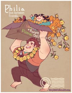 """First in a series showing the four Greek words for """"love"""" using Disney movies: """"Wreck-It Ralph"""" - Art by graphitedoll.tumblr.com"""