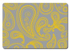 For the laundry room walls:  grey with yellow paisley stencil