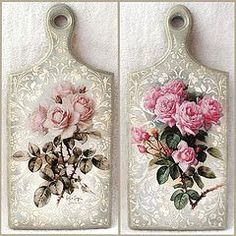 "Discover thousands of images about Cutting board with decoupage ""Roses "" Decoupage Vintage, Napkin Decoupage, Decoupage Paper, Decoupage Ideas, Crafts To Make, Arts And Crafts, Diy Crafts, Decoupage Furniture, Diy Cutting Board"