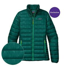 super popular e5791 30474 Patagonia Women  s Down Sweater Jacket - Falling Feathers  Arbor Green FABG