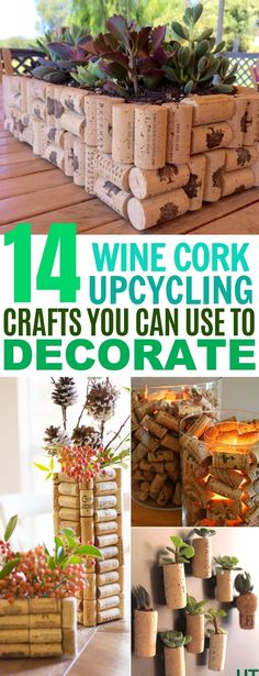 14 Wine Cork Crafts for Home Decor. These wine cork ideas are TO DIE FOR! These wine cork crafts are a great way to give your home a unique look on a budget! Best part is, they actually look really nice! Wine Craft, Wine Cork Crafts, Wine Bottle Crafts, Crafts With Corks, Wine Cork Art, Wine Bottle Corks, Pot Mason Diy, Mason Jar Crafts, Wine Cork Projects