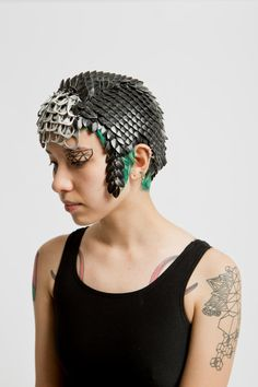 Black Scalemaille/ Chainmaille headpiece by skycubacub on Etsy, $750.00