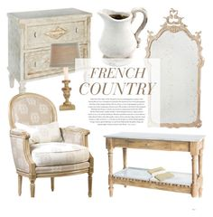 """French Country Decor"" by kathykuohome ❤ liked on Polyvore featuring interior, interiors, interior design, Casa, home decor, interior decorating, Envi, country, Home e frenchcountry"