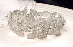 Antique Art Deco Paste Rhinestone Wide Link Bracelet, Vintage Bride Silver Leaf 1920s 1930s Nouveau Flapper Jewelry, Great Gatsby Wedding by AmoreTreasure
