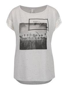 Sivé dámske tričko s čipkou QS by s. Mens Tops, T Shirt, Fashion, Supreme T Shirt, Moda, Tee Shirt, Fashion Styles, Fashion Illustrations, Tee