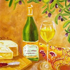 Original oil painting   Wine and Cheese by KIMPETERSONART on Etsy, $60.00