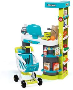 Let them experience what it's like to run a business with the Smoby City Shop Set. Little Girl Toys, Baby Girls, Kids Toys For Boys, Children Toys, Kids Grocery Store, Chelsea Doll, Princess Toys, Baby Alive Dolls, Barbie Furniture