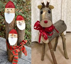 Rustic and natural Christmas decorations - Rustic Wooden Christmas Decorations, Christmas Wood Crafts, Rustic Christmas, Christmas Projects, Christmas Diy, Christmas Ornaments, Deco Noel Nature, Natural Christmas, Reindeer