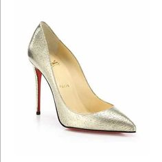 Authentic Christian louboutin metallic gold Comes with dust bag and box! Never worn, metallic gold pumps. 4inch. Christian Louboutin Shoes Heels