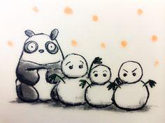 2013.12.27 【一日一大熊猫】 雪の降る地域では降らない地域に向けて 雪だるま等のギフトがあるみたいだね。 ☃