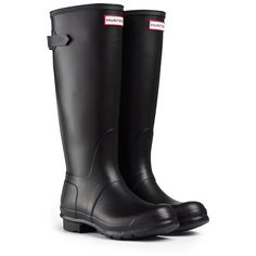 Back Adjustable Rain Boots ($158) ❤ liked on Polyvore featuring shoes, boots, wide calf rubber boots, wide calf boots, hunter boots, wellies boots and wide calf knee high boots