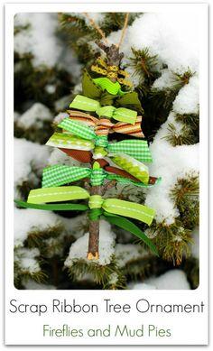 Scrap ribbon tree ornament +25 Beautiful Handmade Ornaments - NoBiggie.net