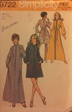 """VTG 9722 Simplicity (1971) misses' robe in 2 lengths.  Size Medium (12 to 14, Bust 34"""" to 36""""). Complete, unused, FF. Excellent condition. by ThePatternParlor on Etsy"""