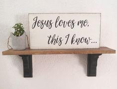 Jesus loves me this I know - scripture nursery wall art - farmhouse hymn - christian nursery - farmhouse christian sign - baby shower gift by TheGreenDoorhomedeco on Etsy