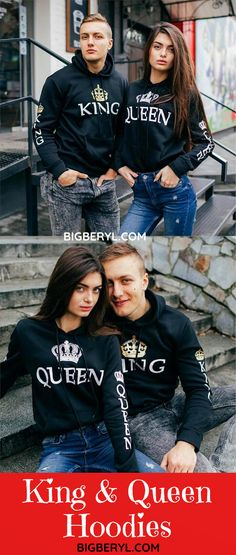 These kind and queen matching couple outfits give you a cool casual look and are perfect gift for any occasion: Birthday, Anniversary or Valentines Day. Warm enough for fall and winter. Best choice for newlyweds on honeymoon. King And Queen Sweatshirts, King Queen Shirts, Matching Hoodies For Couples, Matching Couple Outfits, Best Gifts For Couples, Cute Couples, Perfect Boyfriend, Boyfriend Goals, Cute Christmas Presents