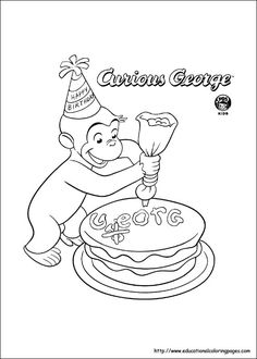 Free Coloring Pages For Kids Favorite Cartoon Characters Curious George Monkey Pictures