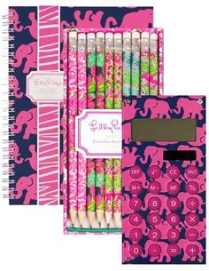 Lily Pulitzer Tusk in the Sun Spiral Gift Set! Cute Office Supplies, Back To School Supplies, School Hacks, School Tips, School Stuff, School Ideas, Office Candy, School Accessories, College Organization