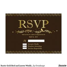 Rustic Gold Bird and Leaves Wedding RSVP Card