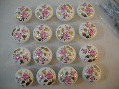 Vintage Set Of 16 Rose & Gold Leaf Porcelain Draw Pulls And Hardware Japan Made Free Shipping http://etsy.me/2nbF1fq #supplies #homeimprovement #porcelainpulls #blueandwhitepulls #drawerpulls #doorhandles #cupboard